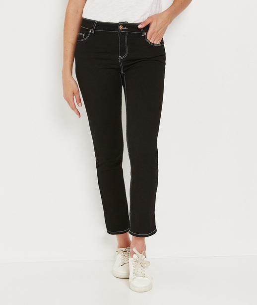 Jean droite avec coutures contrastées BLACK