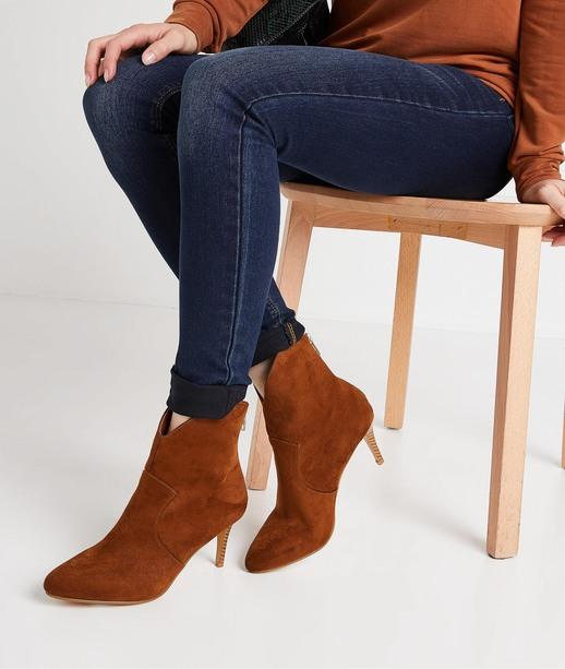 Boots imitation daim à talon fin CAMEL
