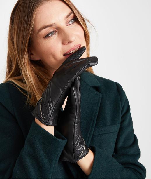 Gants cuir noir femme NOIR