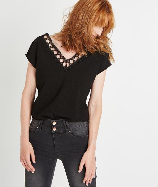 T-shirt uni noir ajouré NOIR
