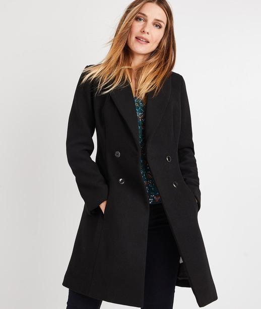 Manteau en lainage cintré boutonné NOIR
