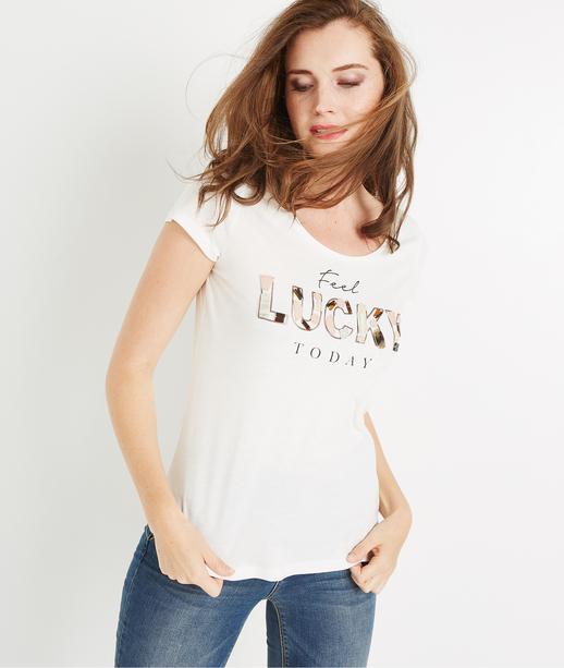 T-shirt imprimé Lucky ECRU