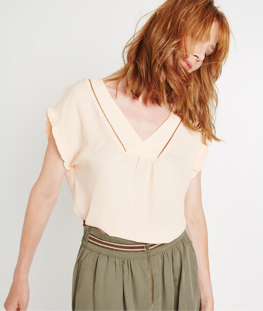 Top fluide col V NUDE