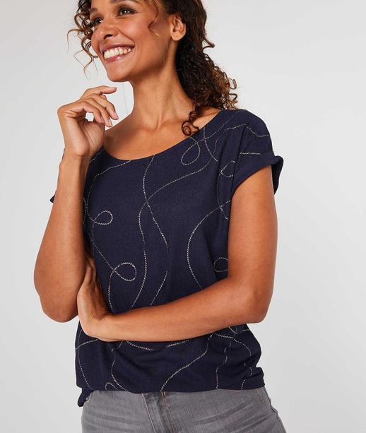 T-shirt froissé dessin cordages MARINE