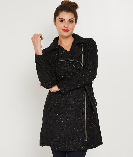 Manteau noir forme perfecto avec lurex NOIR