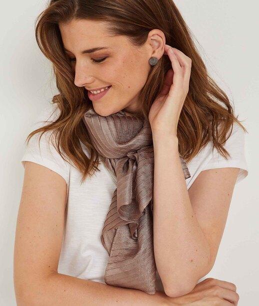 Foulard plissé brillant habillé VIEUX ROSE