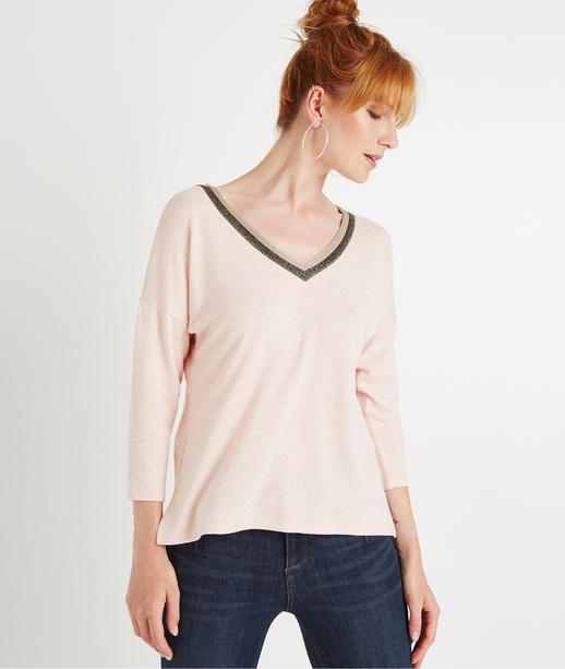 T-shirt manches 3/4 col V brillant ROSE