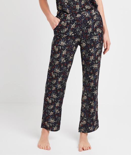 Pantalon imprimé fleuri femme MARINE
