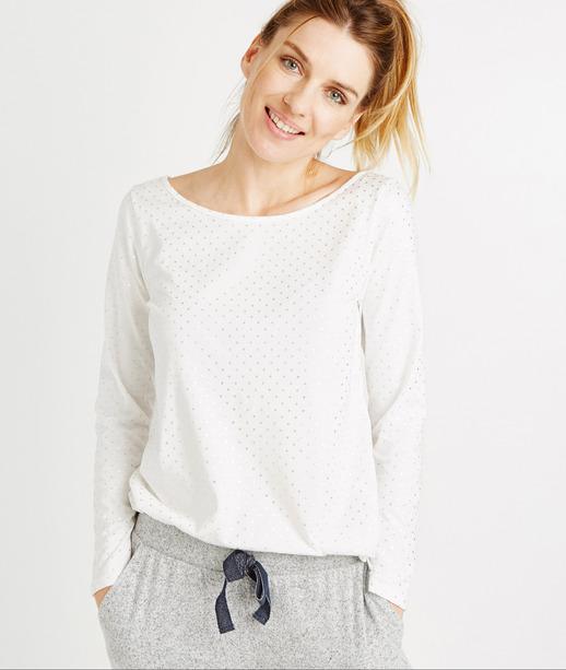 T-shirt homewear imprimé BLANC