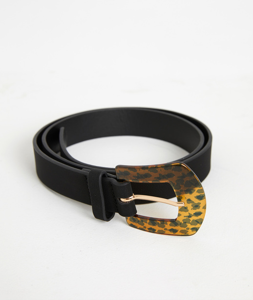 Ceinture noire avec boucle léopard NOIR