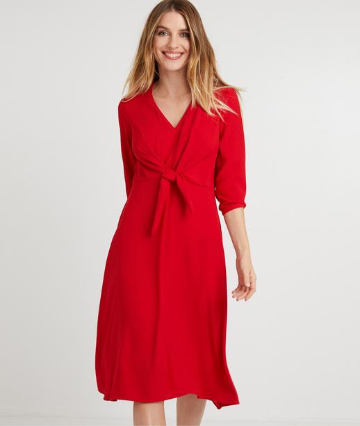 Robe rouge avec noeud dessous poitrine ROUGE