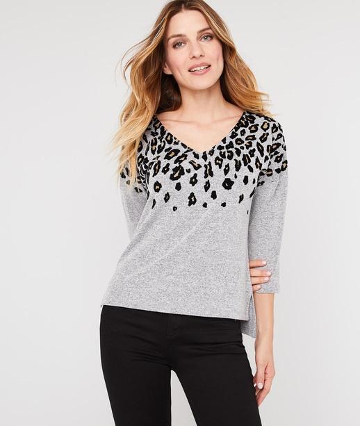 T-shirt imprimé léopard GRIS