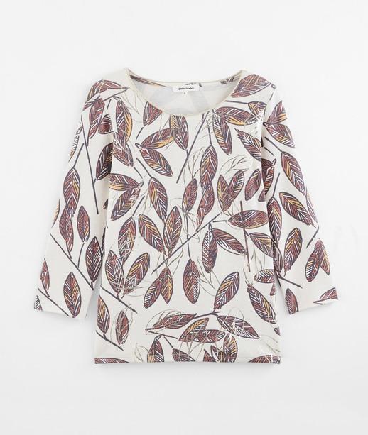 T-shirt imprimé feuilles femme BEIGE