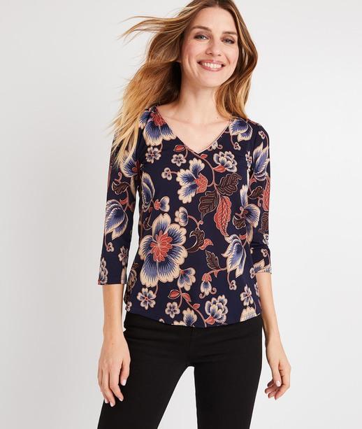 T-shirt imprimé floral MARINE