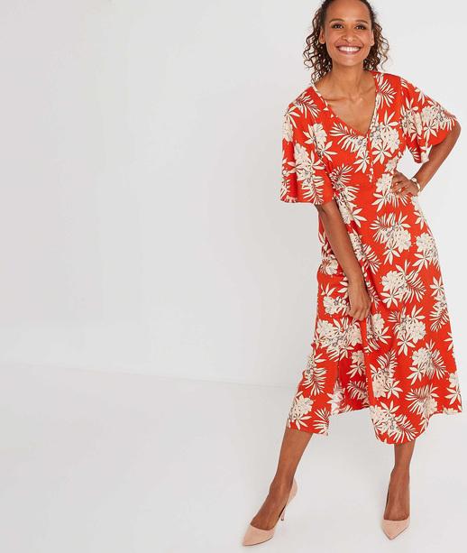 Robe longue orange imprimé fleuri PAPRIKA