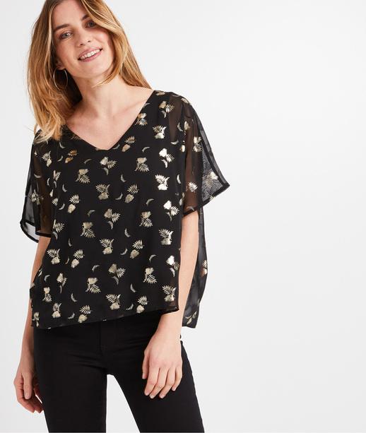 T-shirt voile imprimé femme NOIR