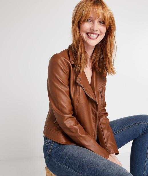 Perfecto simili cuir femme CAMEL