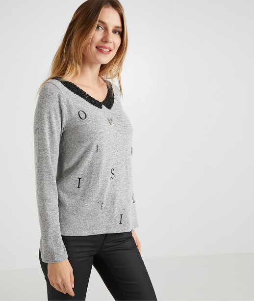 T-shirt gris manches longues femme GRIS