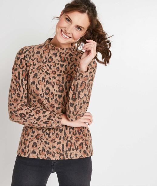 Sweat imprimé léopard femme BEIGE