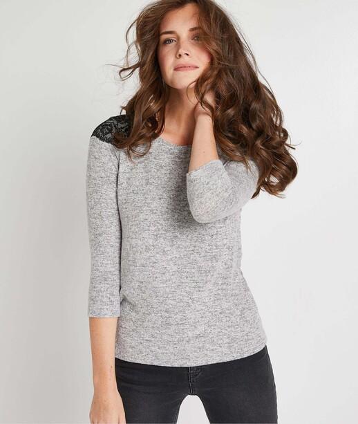 T-shirt gris avec dentelle femme GRIS