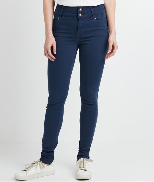 Pantalon slim taille haute femme PETROLE