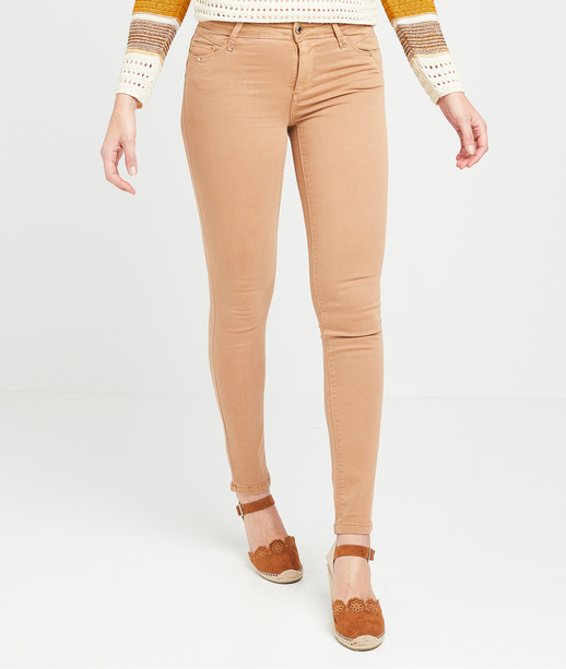 Pantalon slim push-up de couleur femme CAMEL