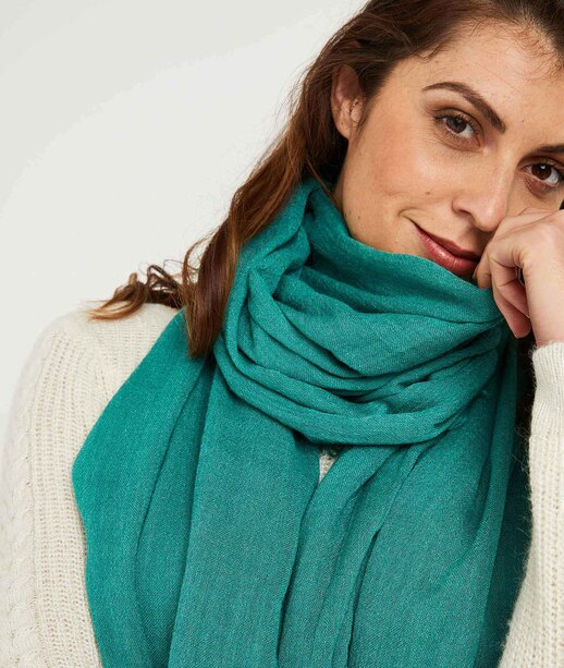 Foulard turquoise uni femme VERT