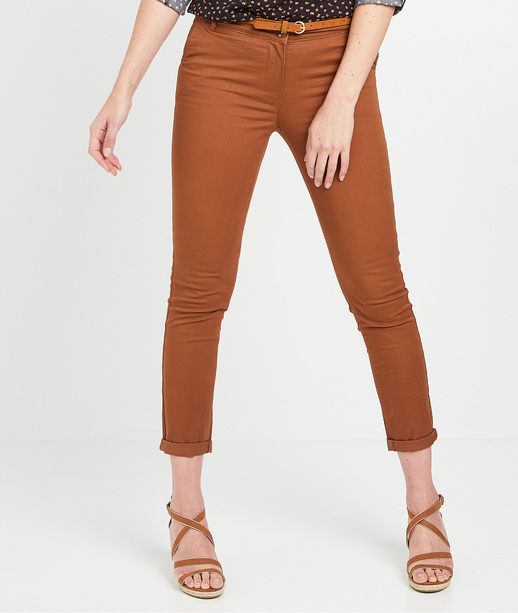 Pantalon chino uni femme CAMEL