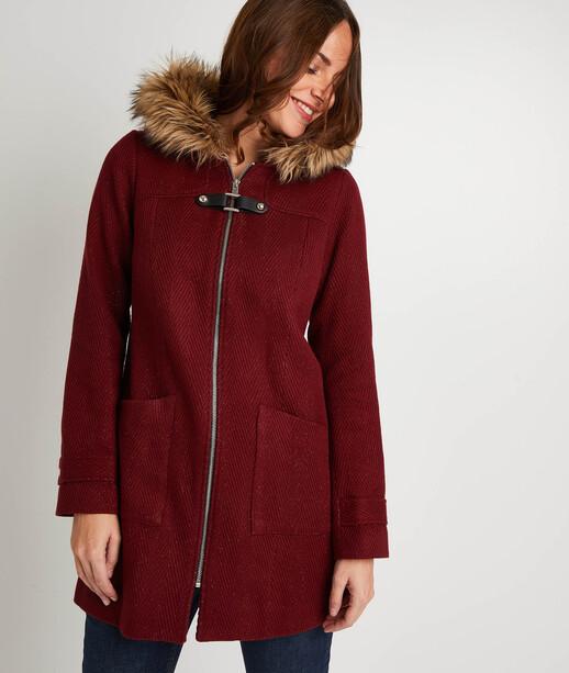 Manteau à capuche bordeaux femme BORDEAUX