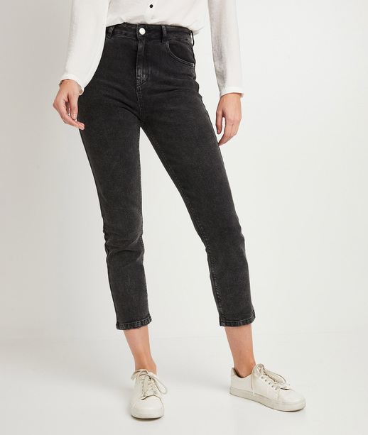 Jean mom femme BLACK WASHED