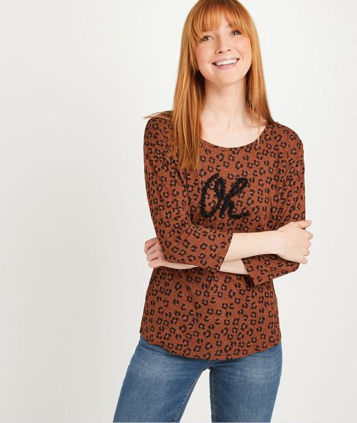 T-shirt imprimé léopard femme CARAMEL