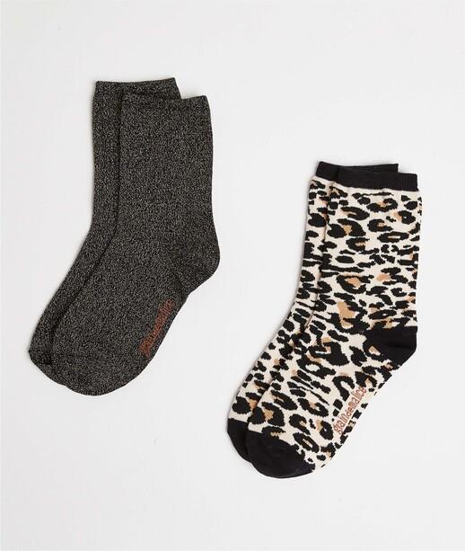 Lot de deux paires de chaussettes femme LEOPARD