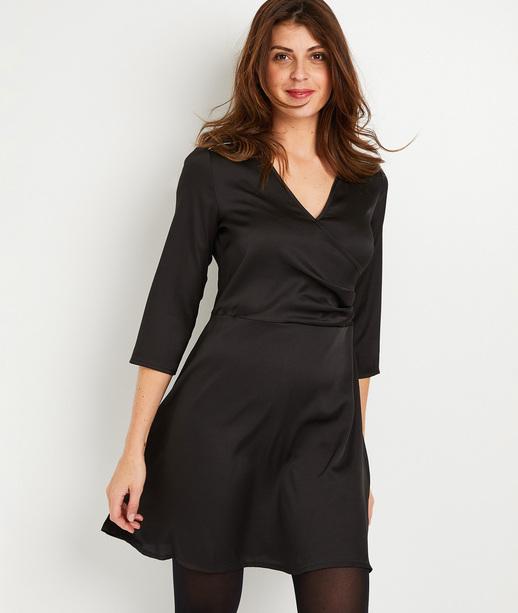 Robe noire satinée femme NOIR