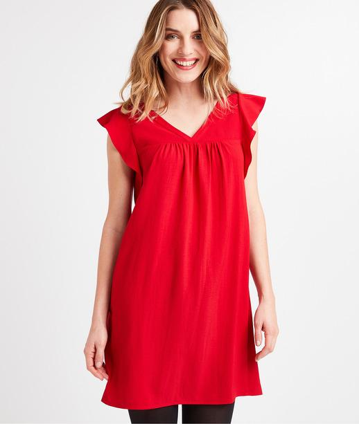 Robe rouge à volants femme ROUGE