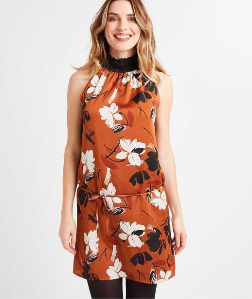 Robe imprimé fleurs femme CARAMEL