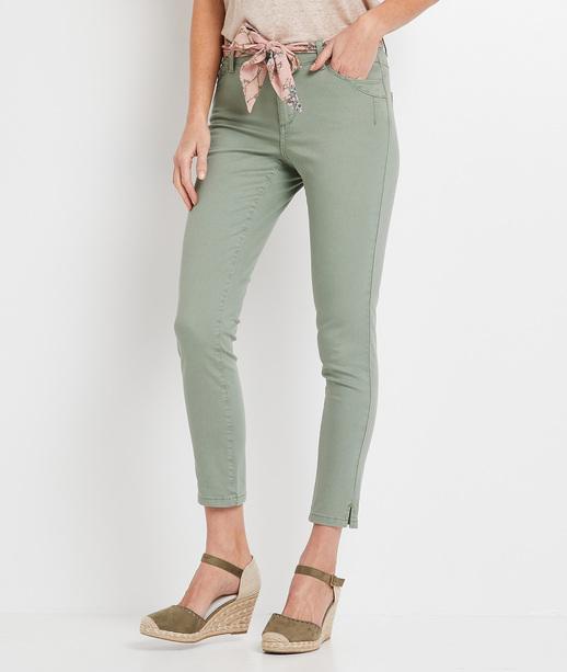 Pantalon raccourci de couleur femme ROSEAU