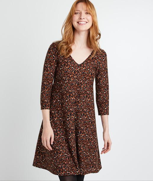 Robe courte maille évasée léopard femme ECUREUIL