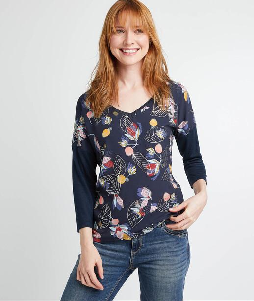 T-shirt imprimé feuillages femme MARINE