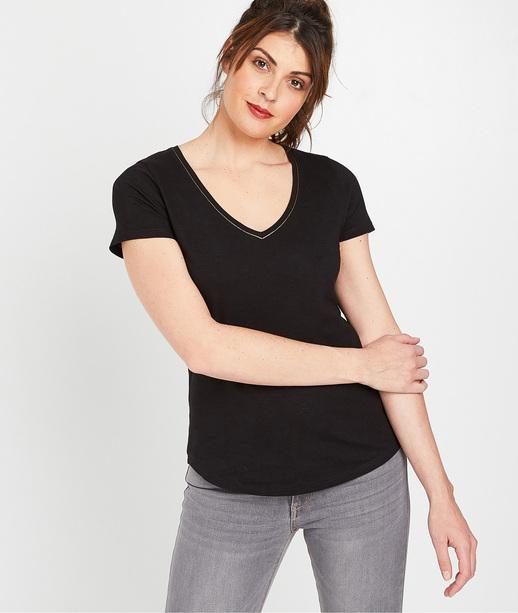 T-shirt 100% coton uni femme NOIR
