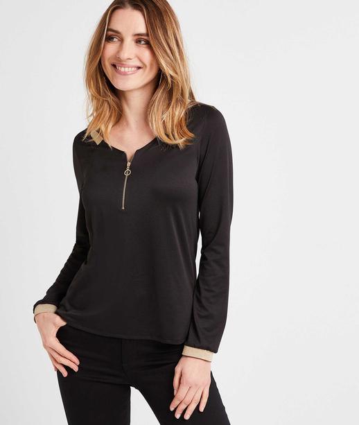 T-shirt  noir zippé femme NOIR