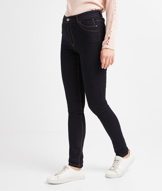 Jean slim taille haute femme BLUE BLACK