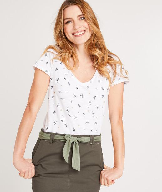 T-shirt femme imprimé en coton BLANC