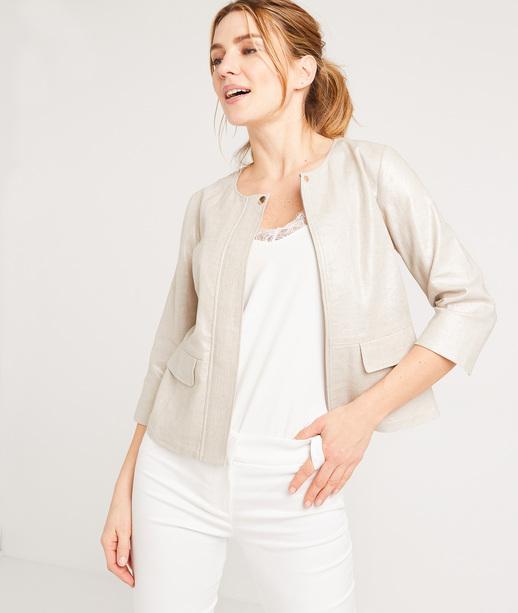 Veste zippée brillante femme BEIGE