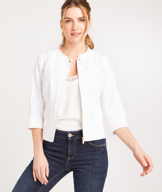 Veste zippée mélange lin femme BLANC