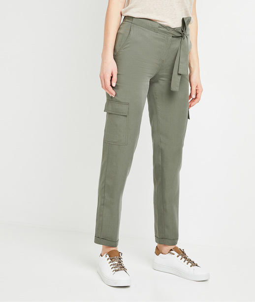 Pantalon chino en lyocell femme KAKI