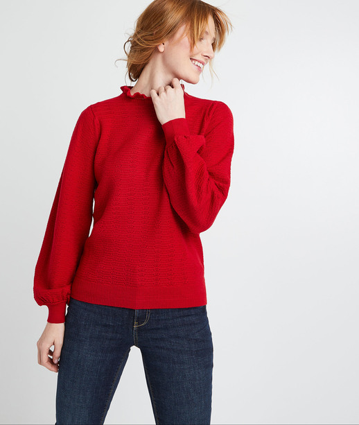 Pull fin rouge femme ROUGE