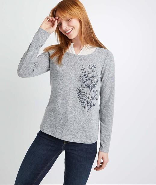 T-shirt gris avec col femme GRIS
