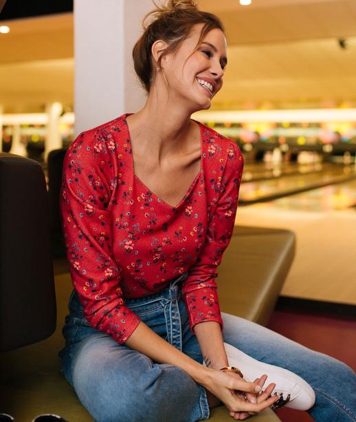 T-shirt rouge imprimé fleuri femme ROUGE