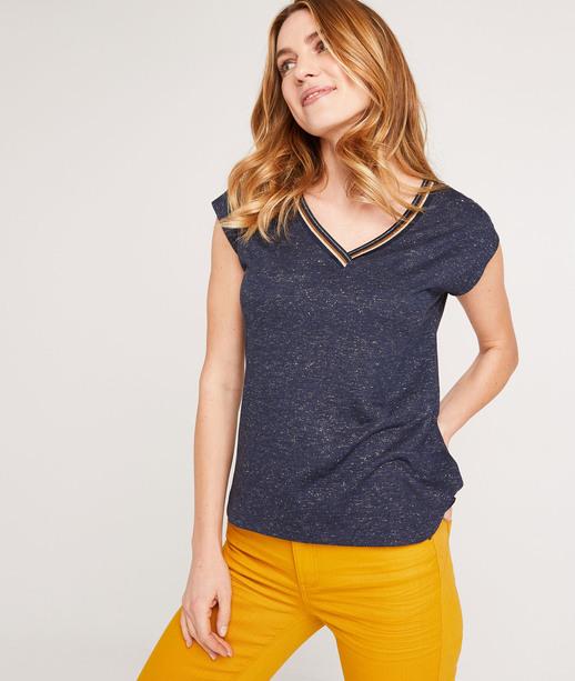 T-shirt uni avec galon femme MARINE