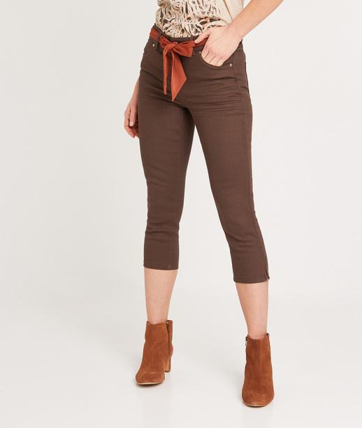 Corsaire en jean uni femme MOKA